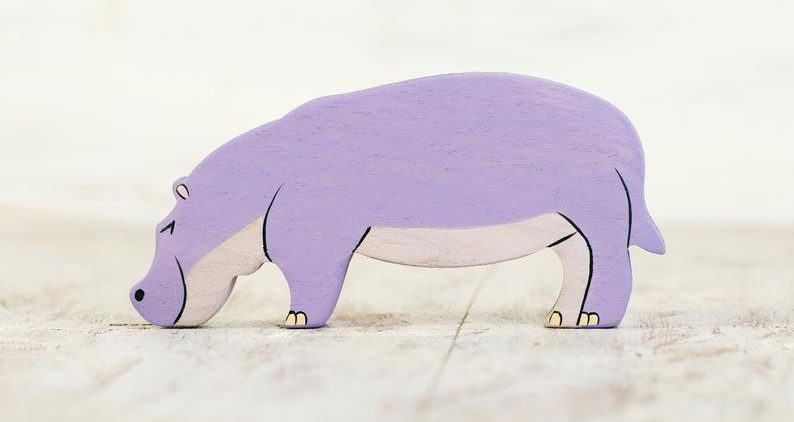 Hand Carved and Hand Painted Hippo